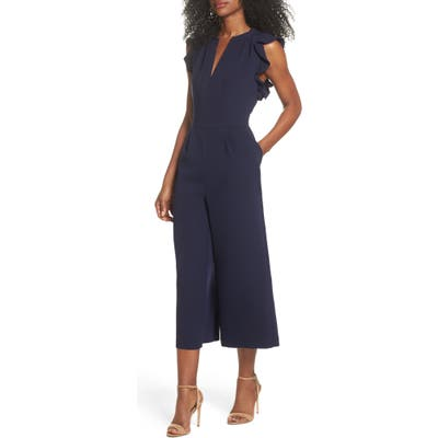 Vince Camuto Ruffle Wide Leg Crop Jumpsuit, Blue