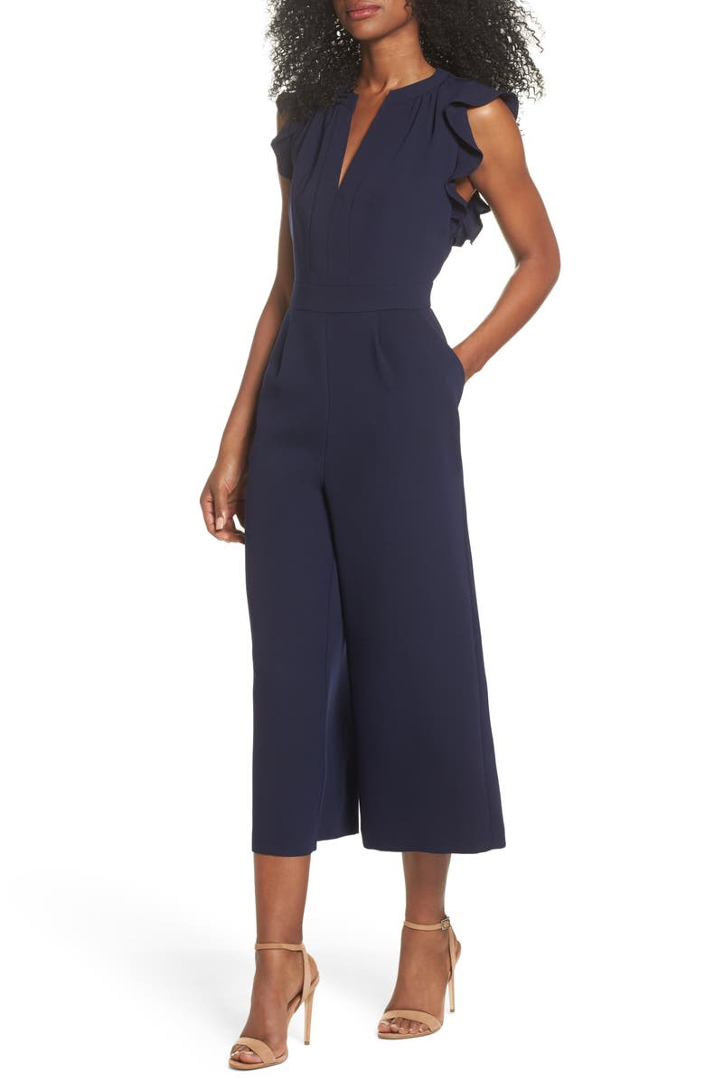 VINCE CAMUTO Ruffle Wide Leg Crop Jumpsuit, Main, color, NAVY