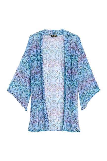 Image of Athena Indigo Printed Mesh Cover-Up Kimono