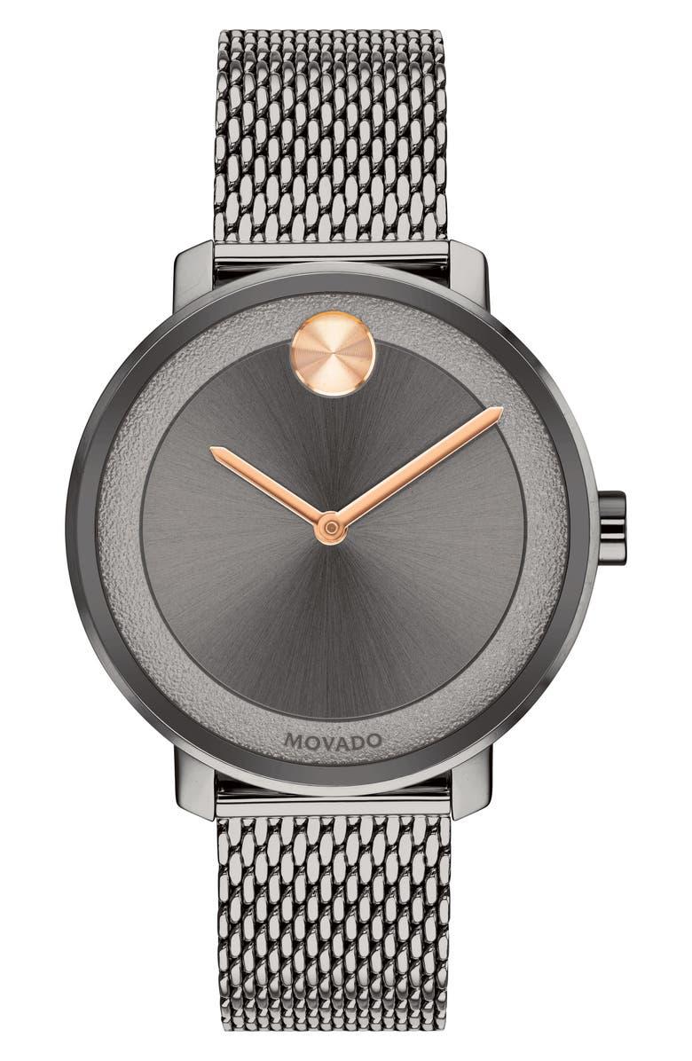MOVADO Bold Mesh Bracelet Watch, 34mm, Main, color, 020