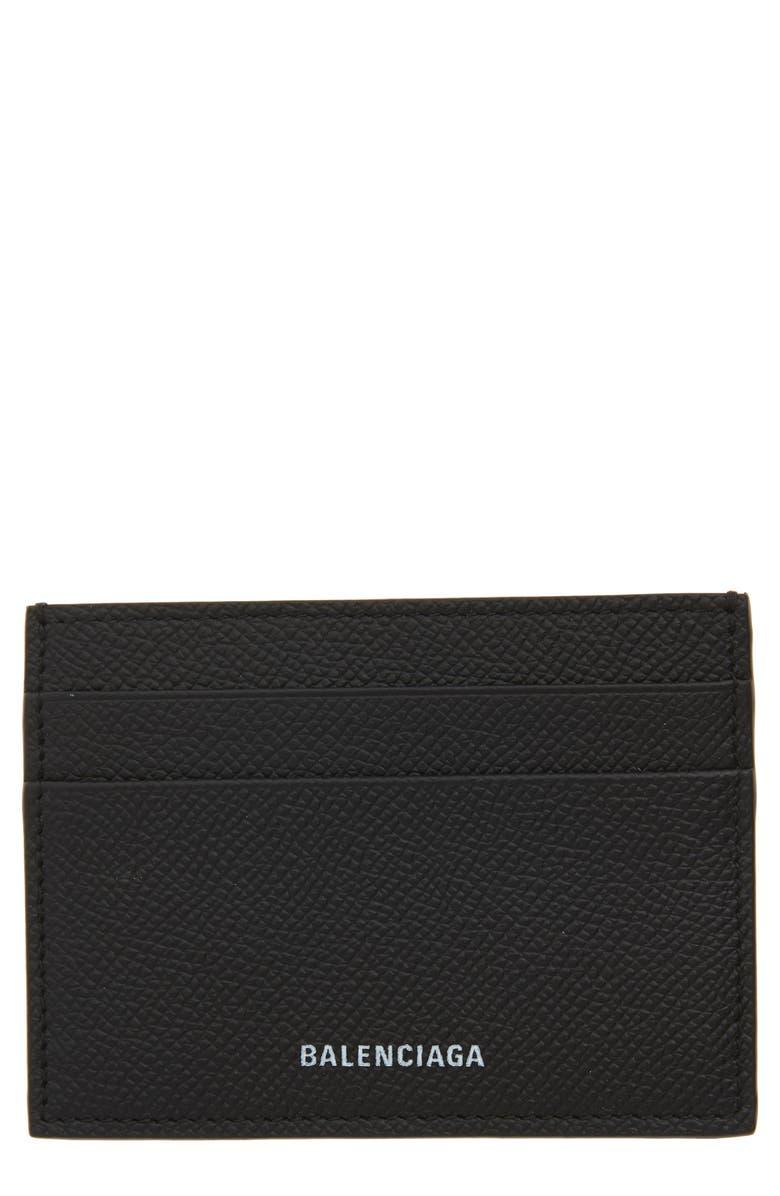 BALENCIAGA Ville Pebbled Leather Card Case, Main, color, BLACK/ WHITE