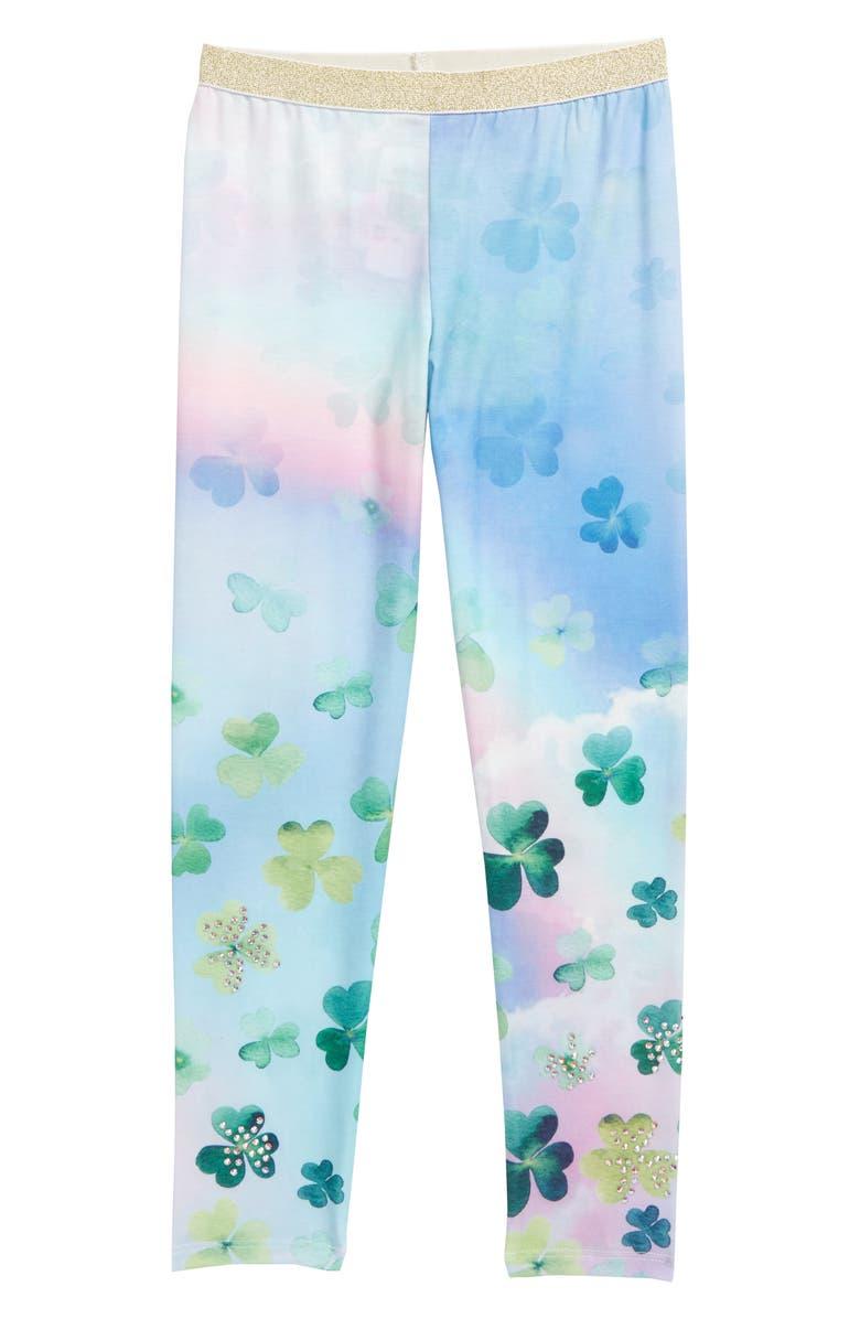 TRULY ME Shamrock Pattern Leggings, Main, color, GREEN MULTI