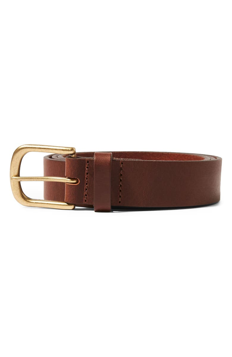 TOPMAN Horseshoe Buckle Leather Belt, Main, color, 200