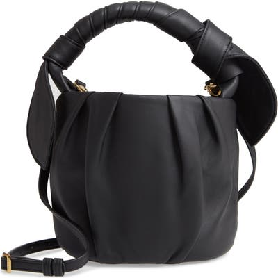 Staud Dani Pleated Leather Top Handle Bucket Bag - Black