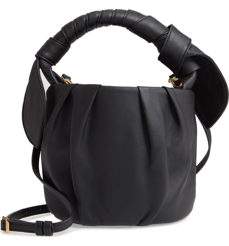 STAUD Dani Pleated Leather Top Handle Bucket Bag, Main, color, 001