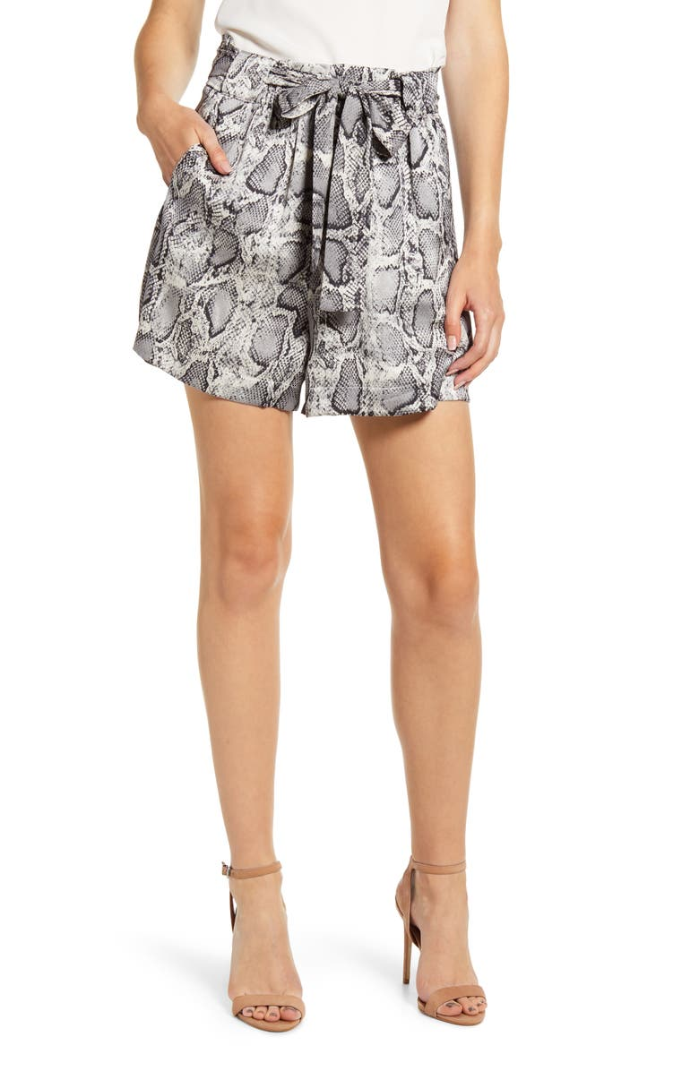 BISHOP + YOUNG Snake Print Front Tie Shorts, Main, color, SNAKESKIN