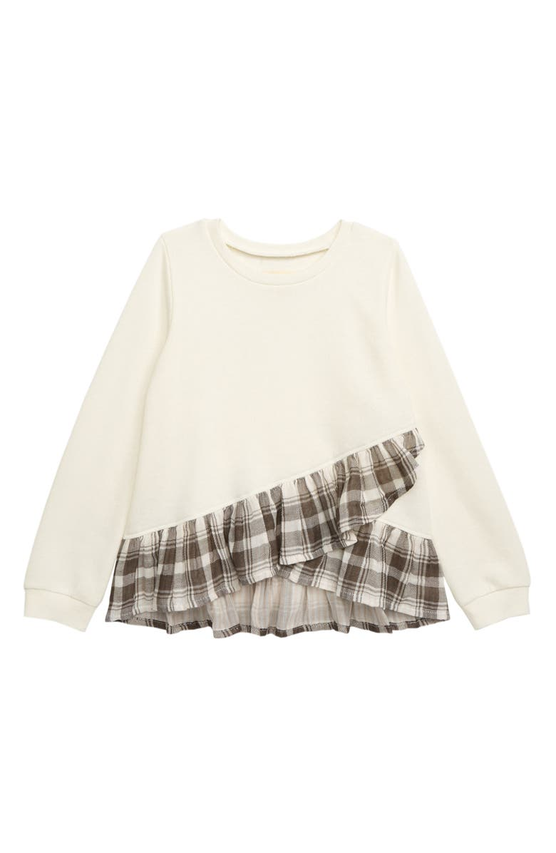 TUCKER + TATE Ruffle Hem Sweatshirt, Main, color, IVORY EGRET