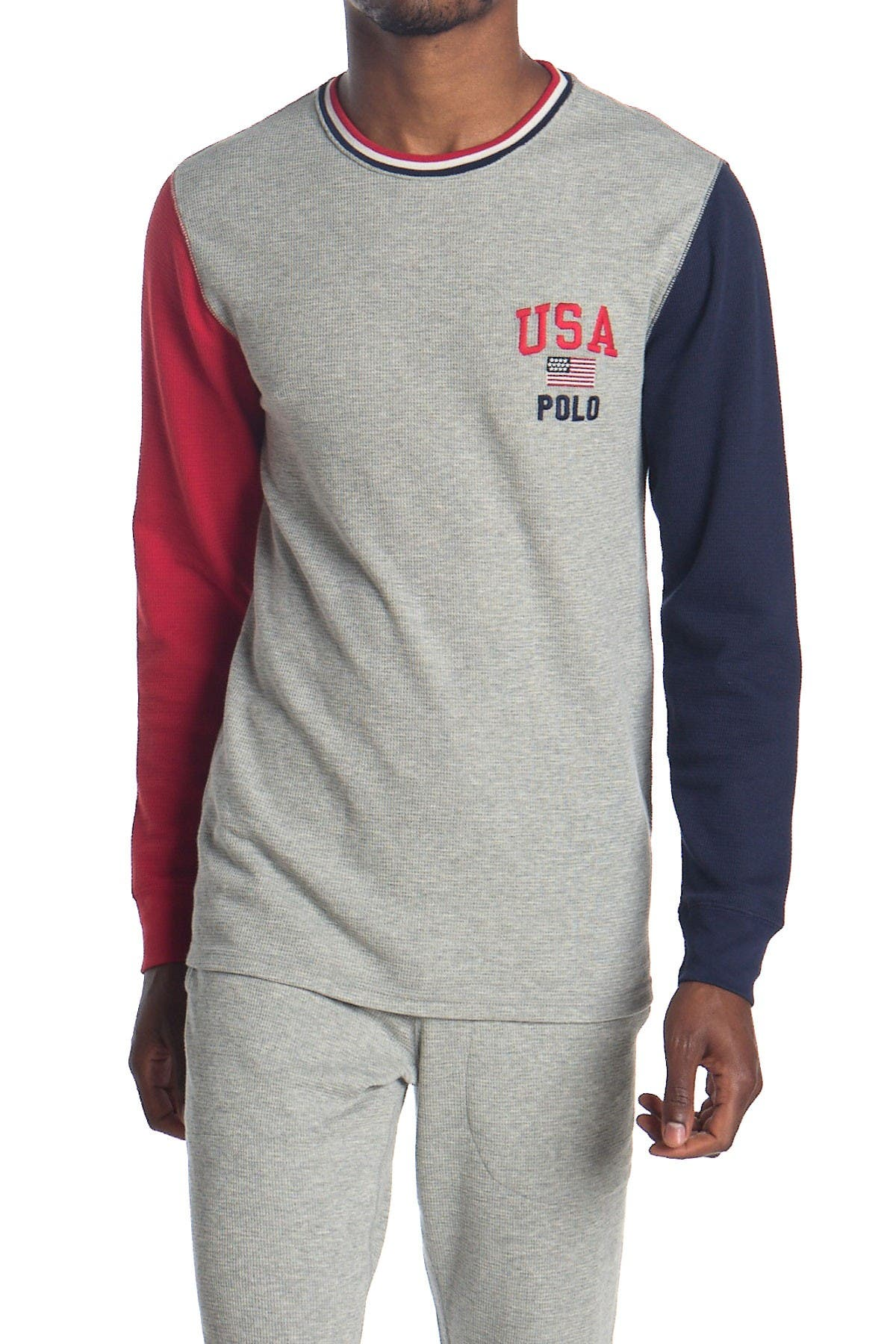 Image of Polo Colorblock Waffle Knit Long Sleeve T-Shirt