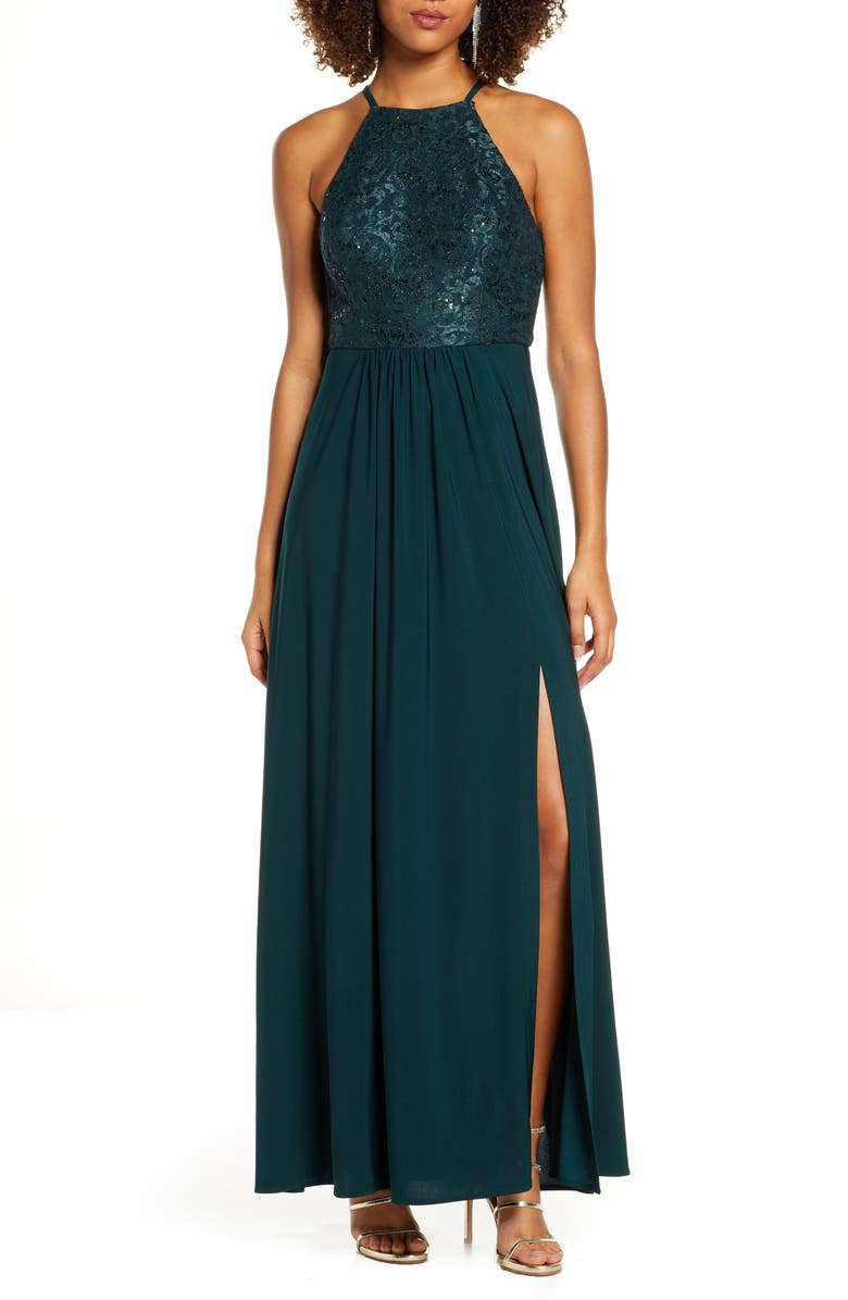 MORGAN & CO. Sequin Lace Gown, Main, color, 301