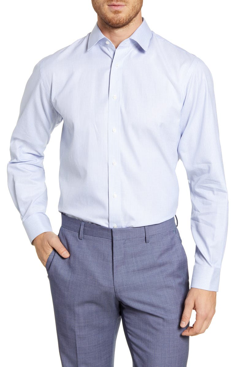 NORDSTROM MEN'S SHOP Traditional Fit Solid Dress Shirt, Main, color, BLUE ROBBIA
