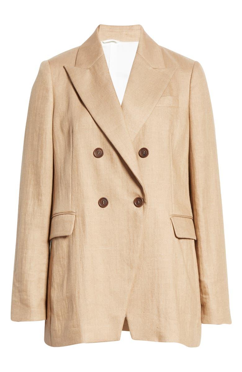 BRUNELLO CUCINELLI Double Breasted Nylon & Linen Blazer, Alternate, color, BEIGE