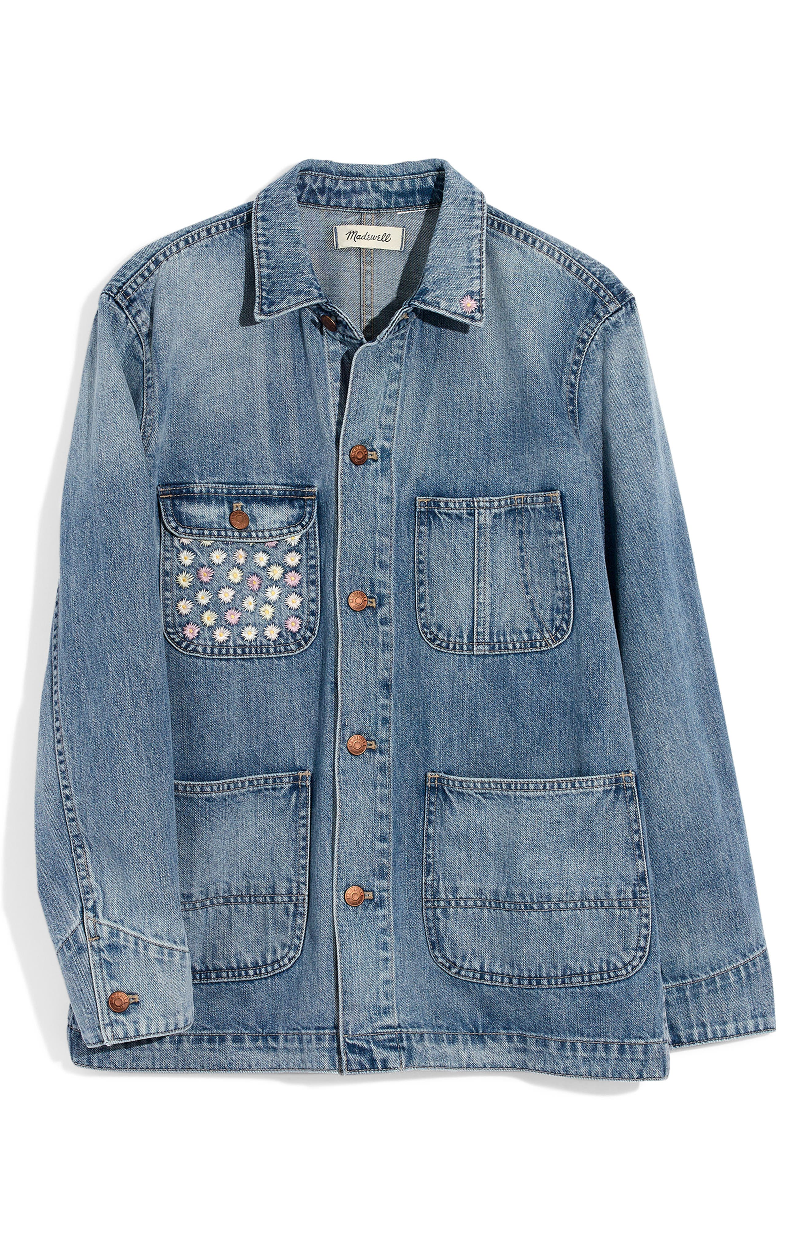 ,                             Embroidered Denim Chore Coat,                             Alternate thumbnail 5, color,                             ROSSEAU WASH