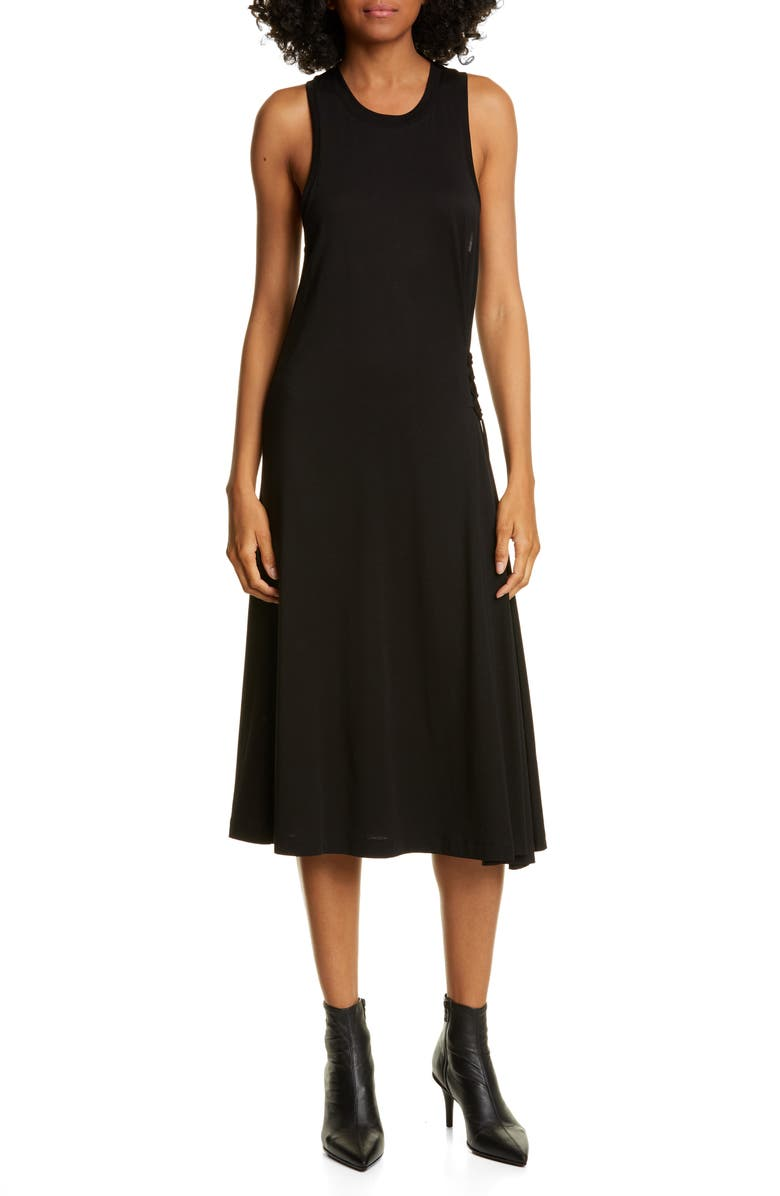 RAG & BONE Luca Lace-Up Midi Dress, Main, color, BLK