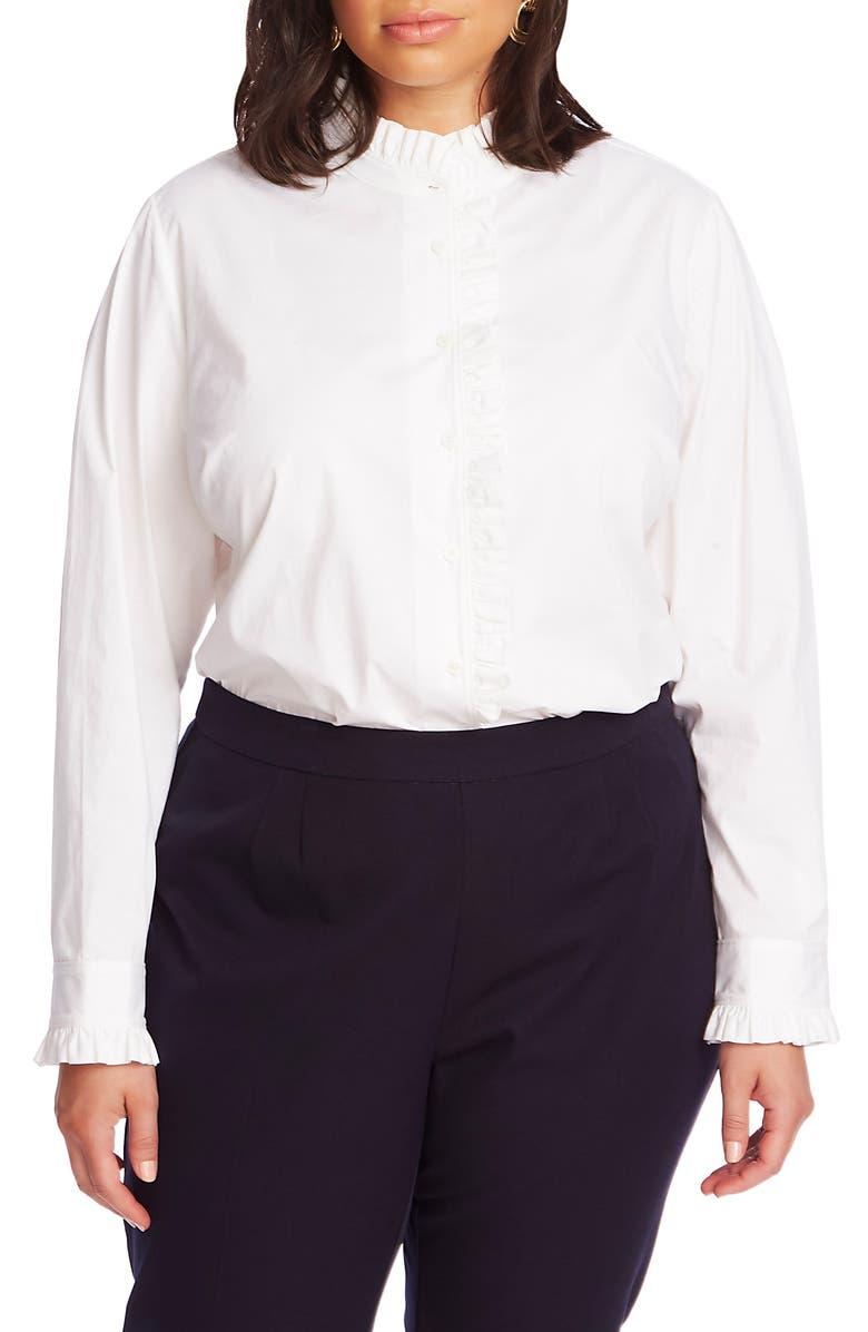 COURT & ROWE Ruffle Placket Poplin Shirt, Main, color, ULTRA WHITE