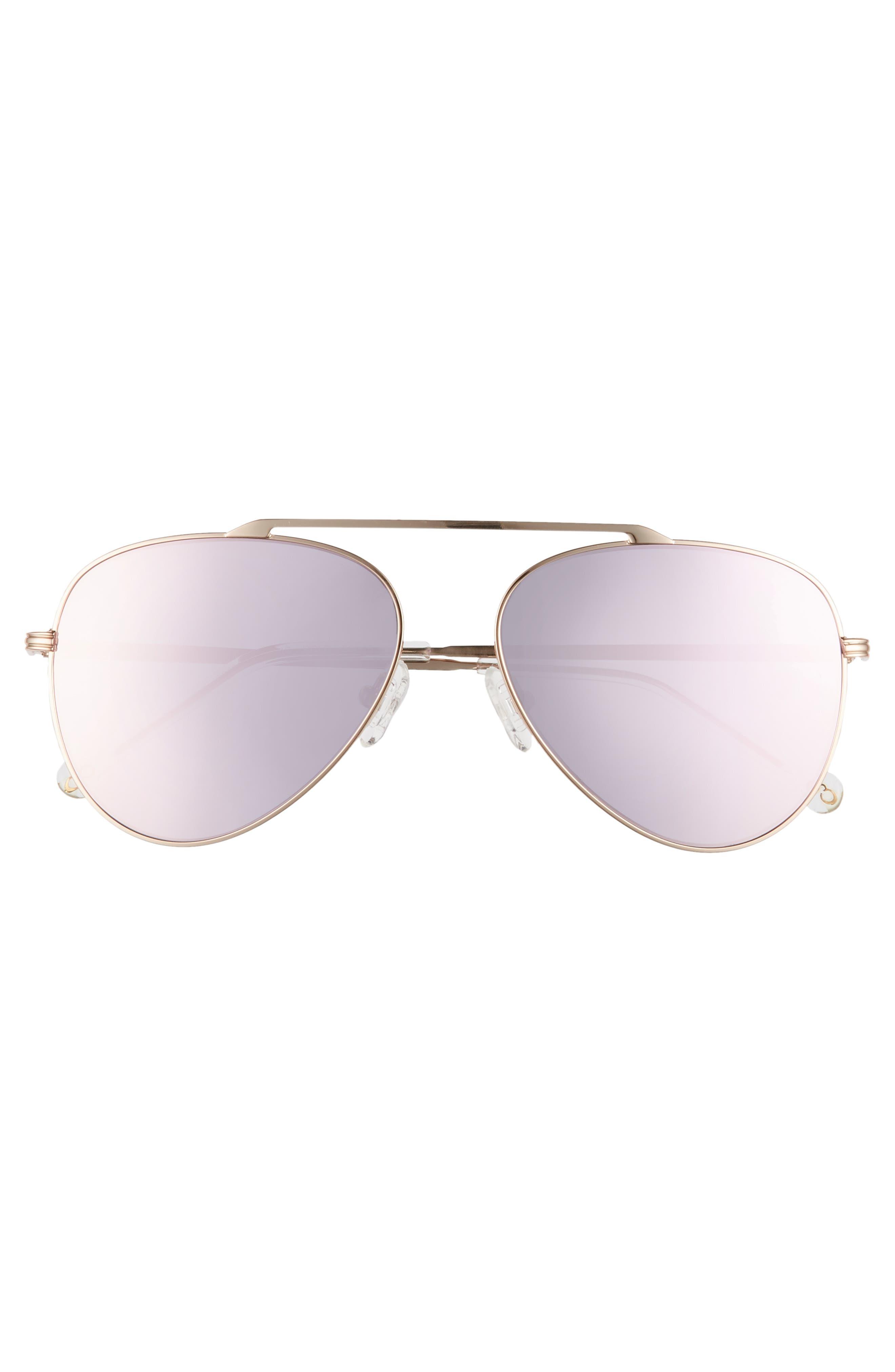 ,                             Cosmic 58mm Aviator Sunglasses,                             Alternate thumbnail 3, color,                             ROSE GOLD