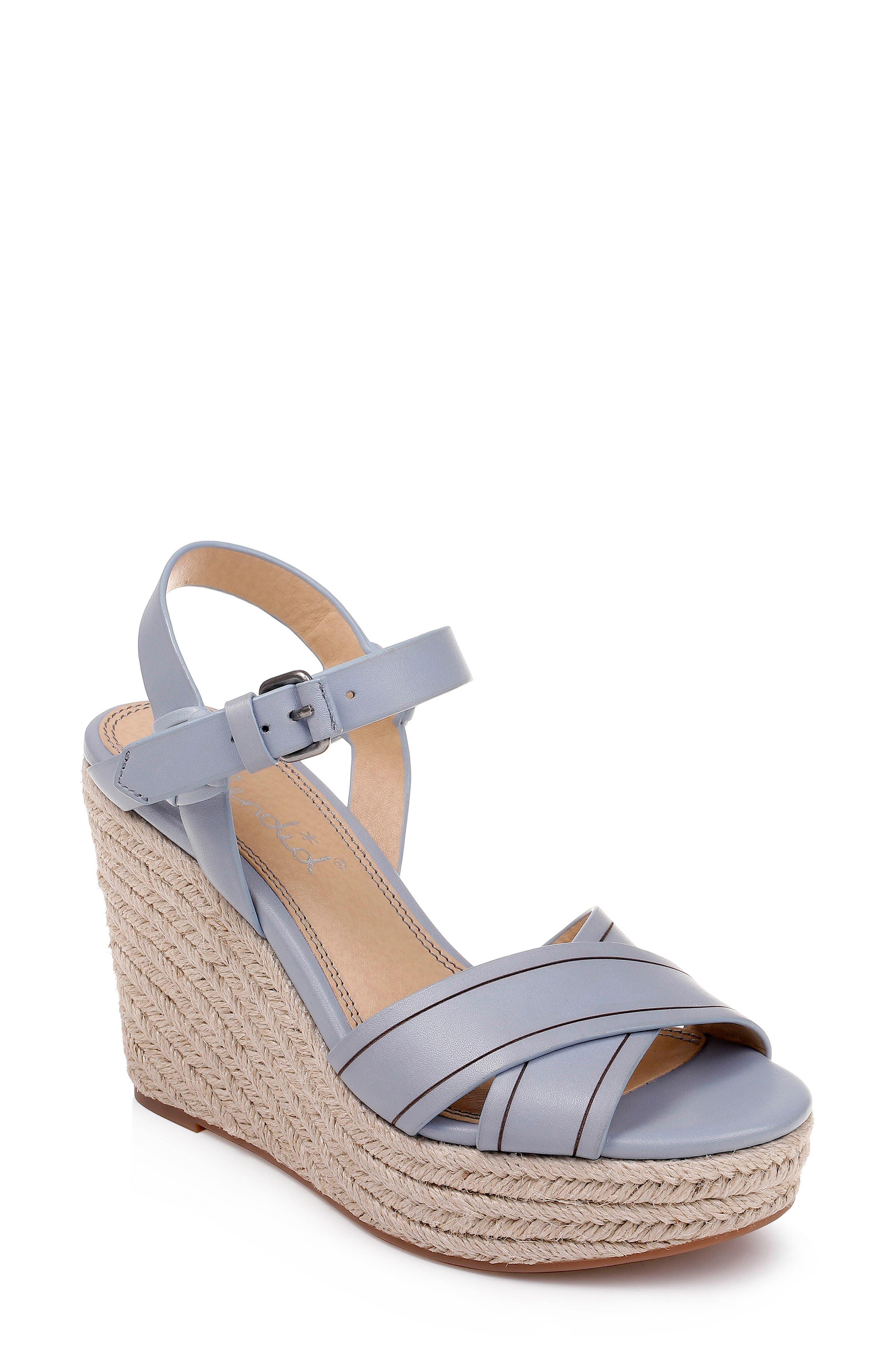 Splendid Taffeta Espadrille Wedge Sandal, Blue