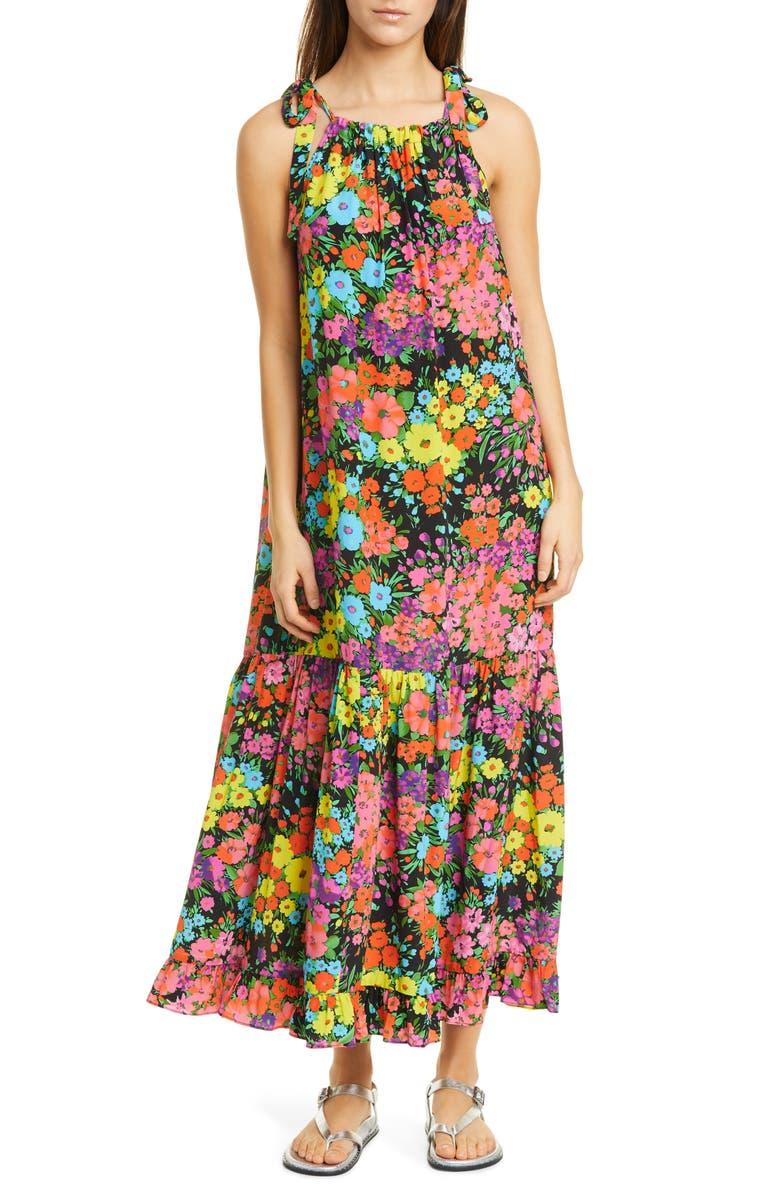 LES RÊVERIES Tie Strap Floral Silk Dress, Main, color, 001