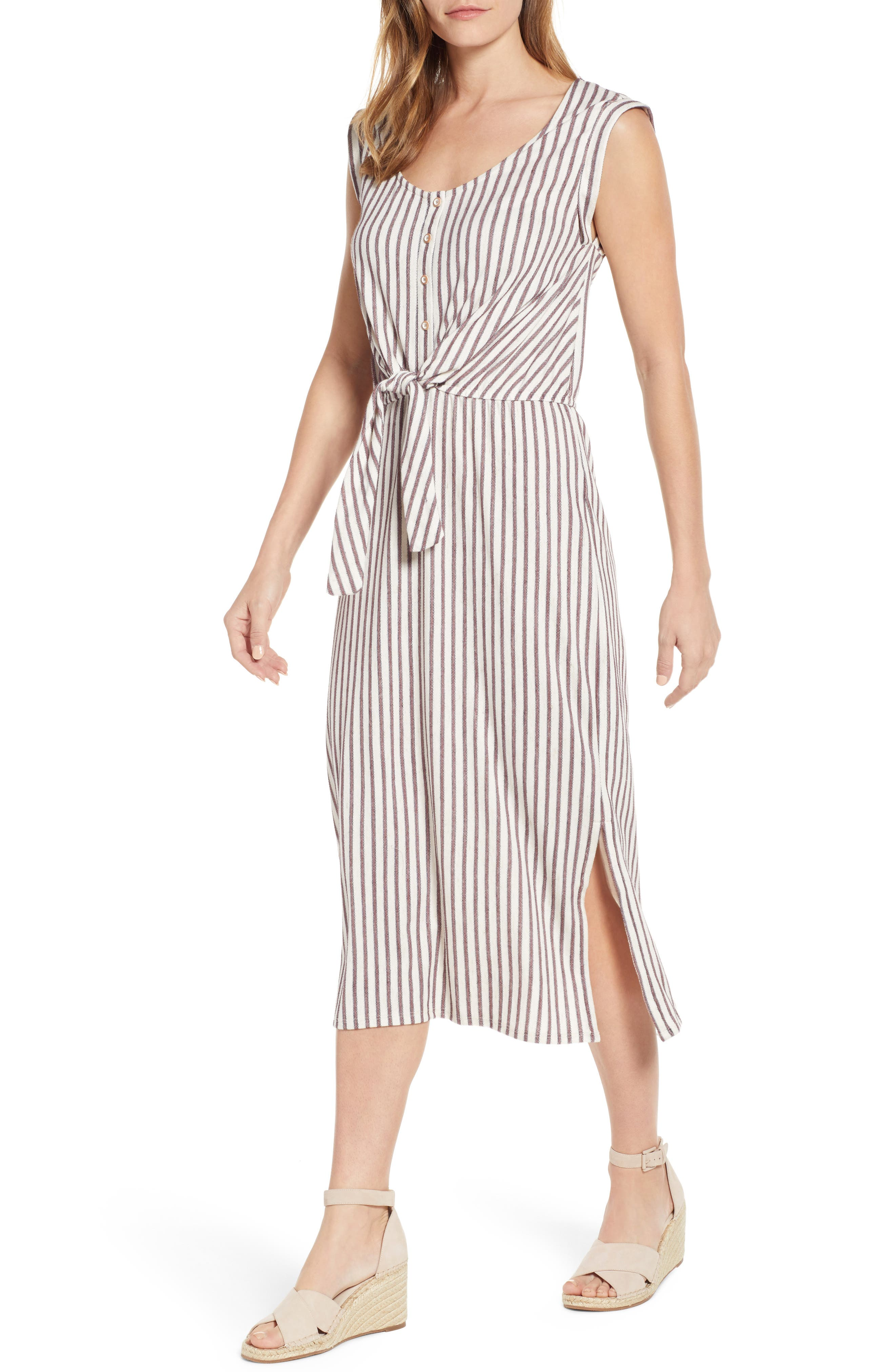 A sunny-day striped dress, kissed with cotton and linen, adds soft structure by way of a tie front and gently rolled cap sleeves. Style Name: Wit & Wisdom Stripe Tie Front Dress (Nordstrom Exclusive). Style Number: 5777923. Available in stores.