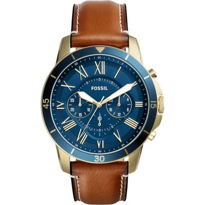 Fossil Grant Chronograph Leather Strap Watch, 4m