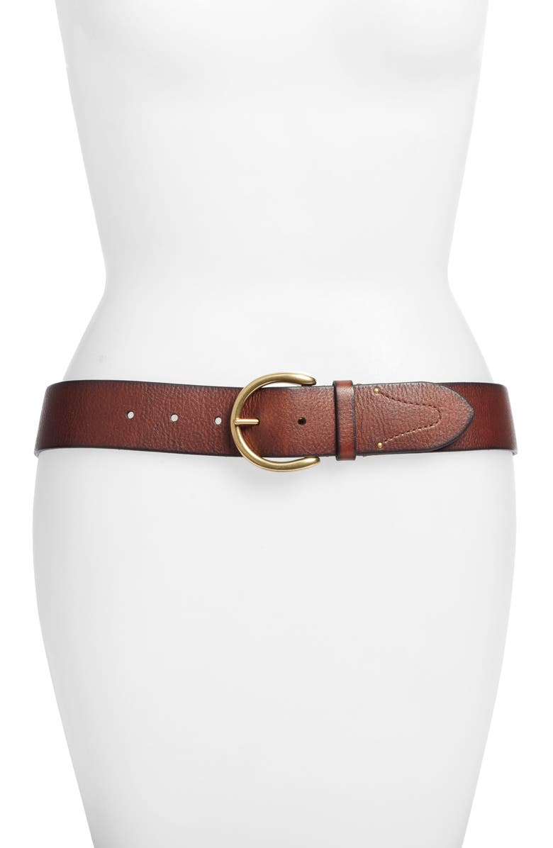 FRYE Campus Leather Belt, Main, color, BROWN