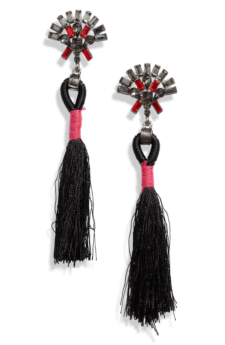KNOTTY Crystal Tassel Drop Earrings, Main, color, BLACK