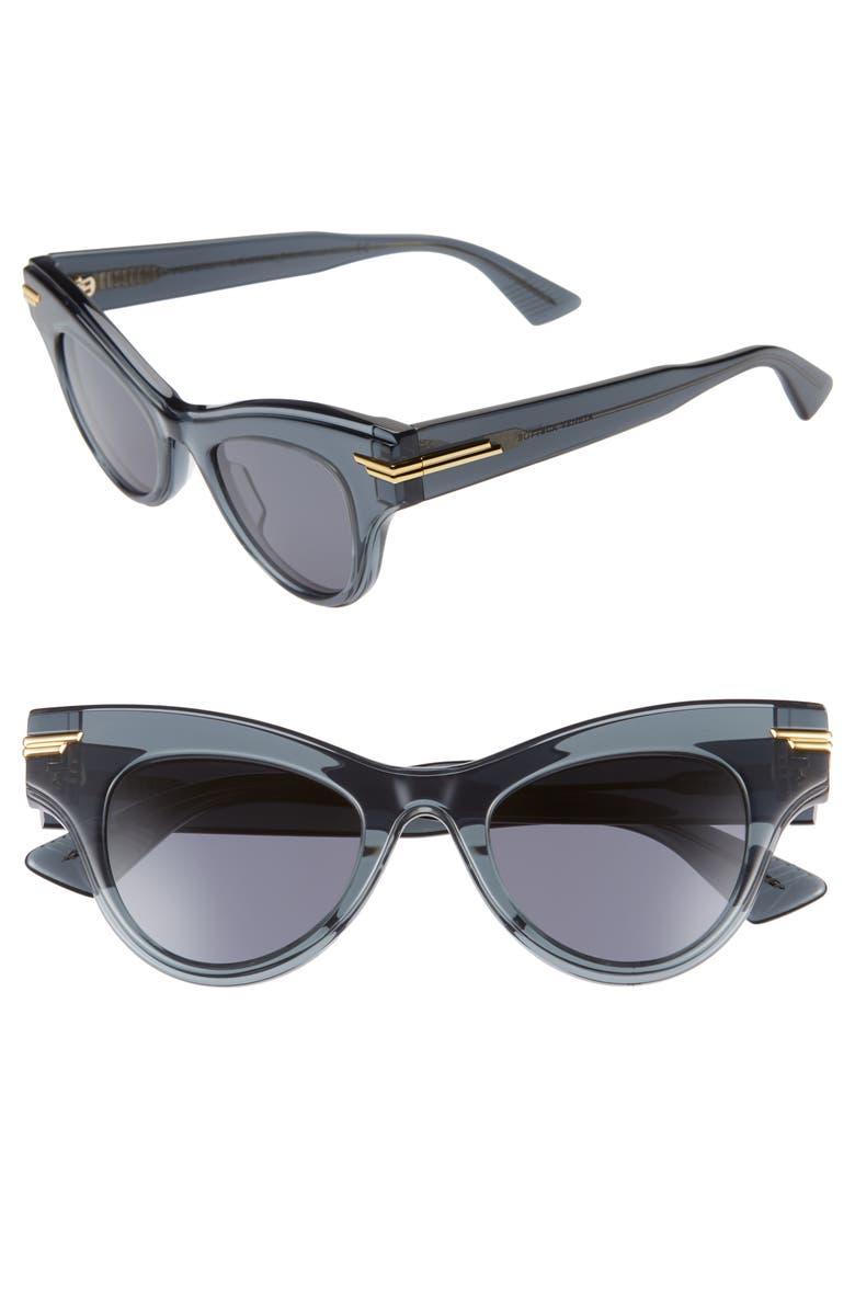 BOTTEGA VENETA 47mm Cat Eye Sunglasses, Main, color, GREY/ GREY