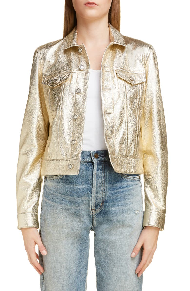 SAINT LAURENT Western Metallic Leather Jacket, Main, color, OR PALE