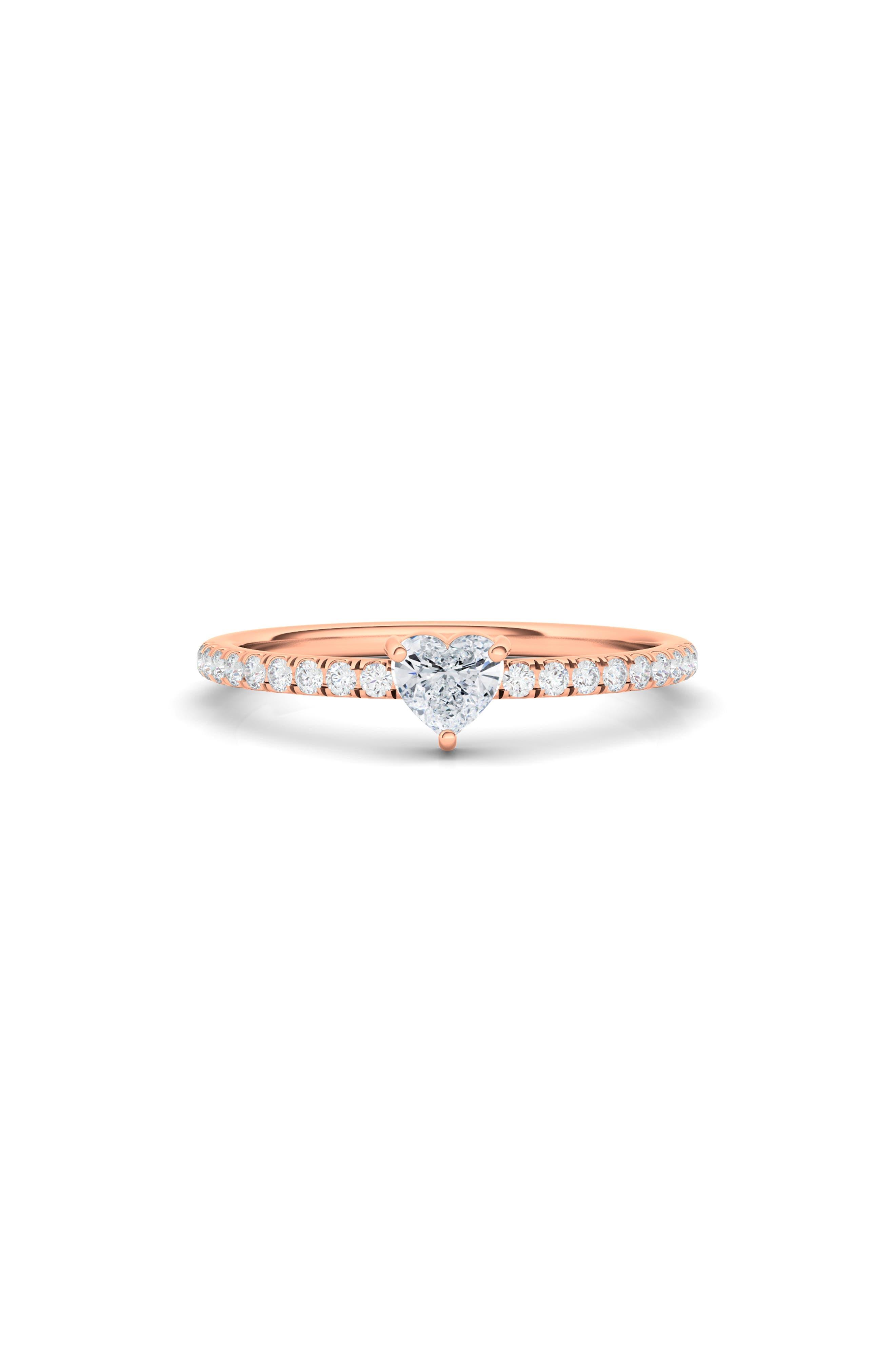 Lab Created Heart Diamond & Pave 14K Gold Ring