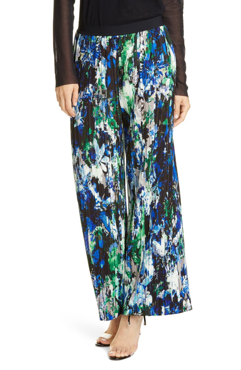 FUZZI Floral Print Pleated Wide Leg Pants, Main, color, NERO