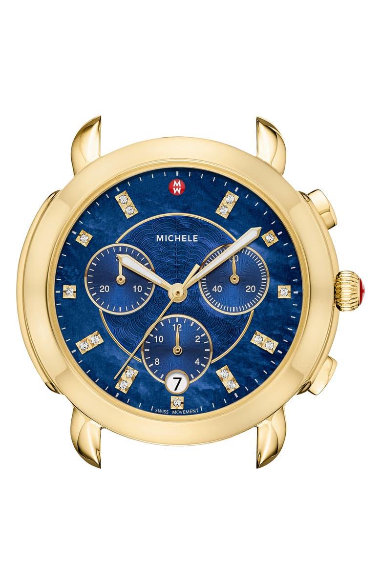 MICHELE Sidney Chronograph Diamond Watch Head, 38mm, Main, color, GOLD/ DEEP BLUE MOP