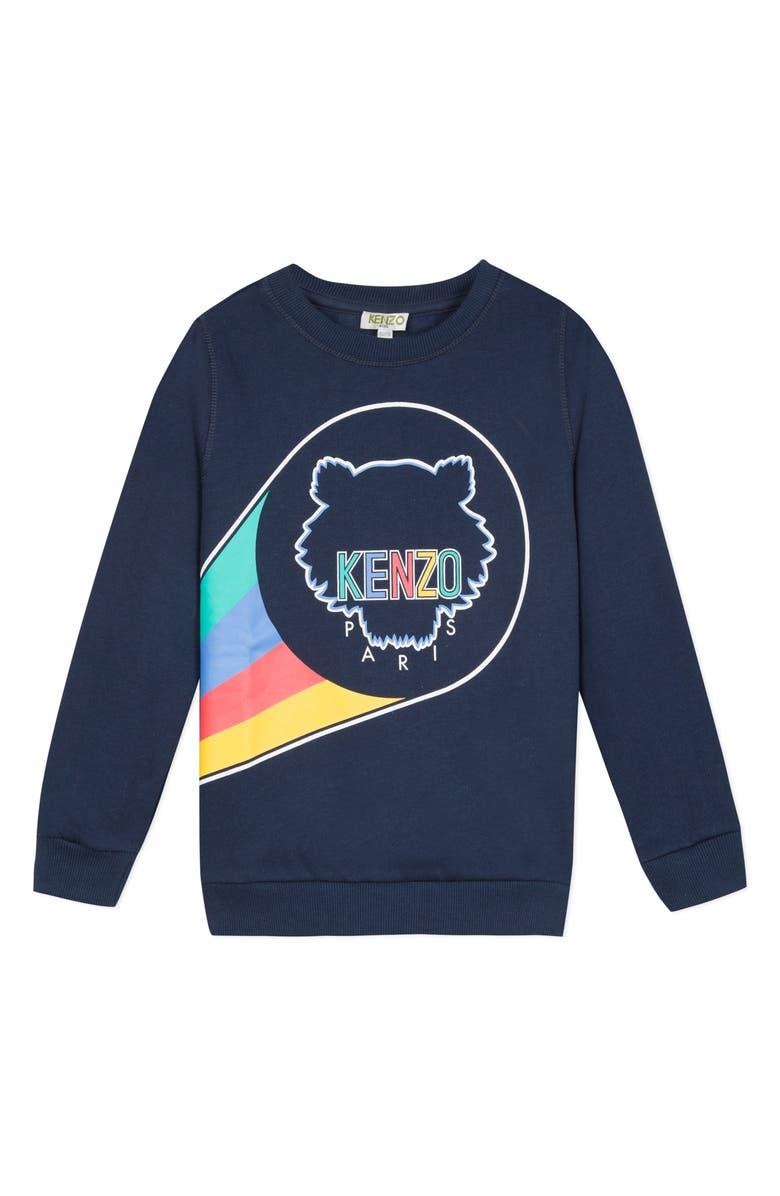 KENZO Logo Graphic Sweatshirt, Main, color, MARINE BLUE