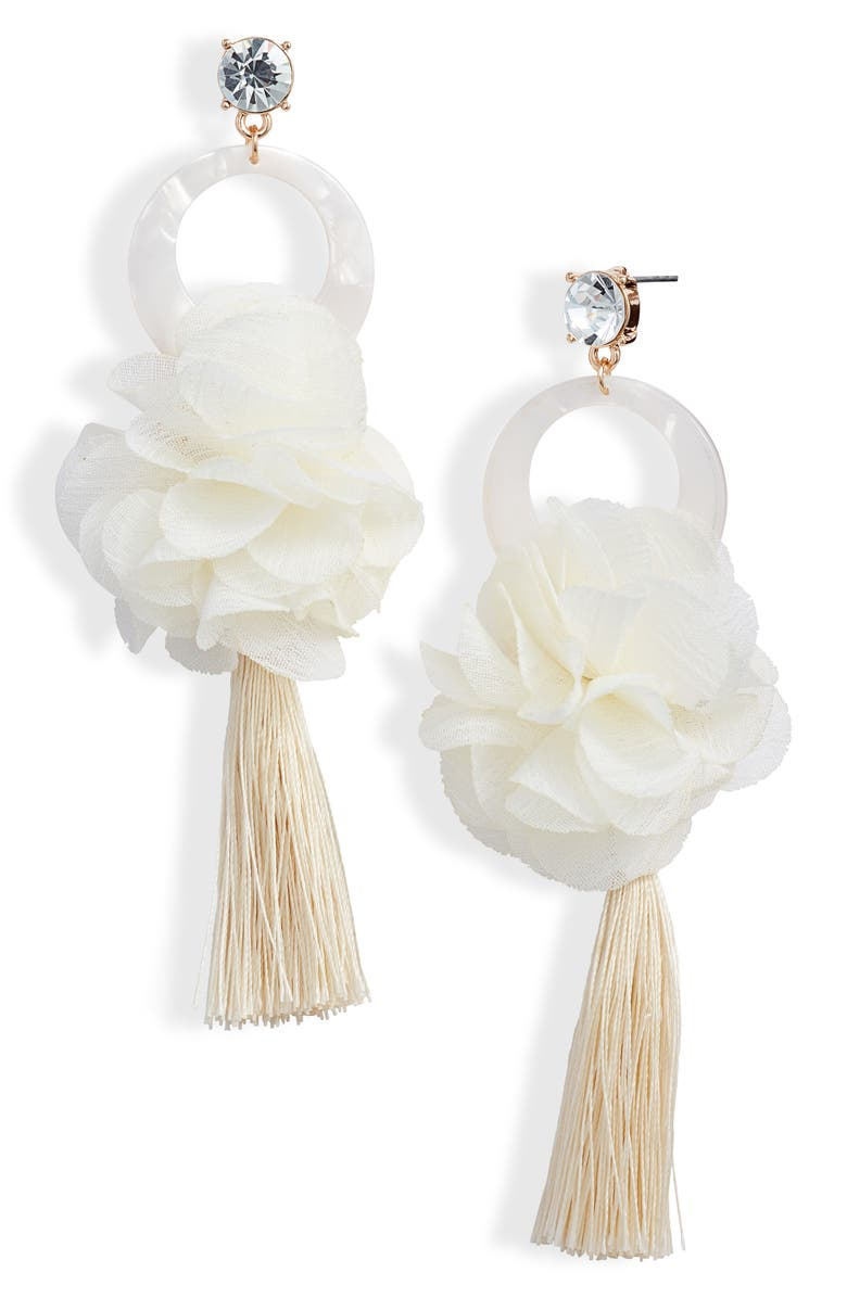 RACHEL PARCELL Flower & Tassel Drop Earrings, Main, color, CLEAR- IVORY- GOLD