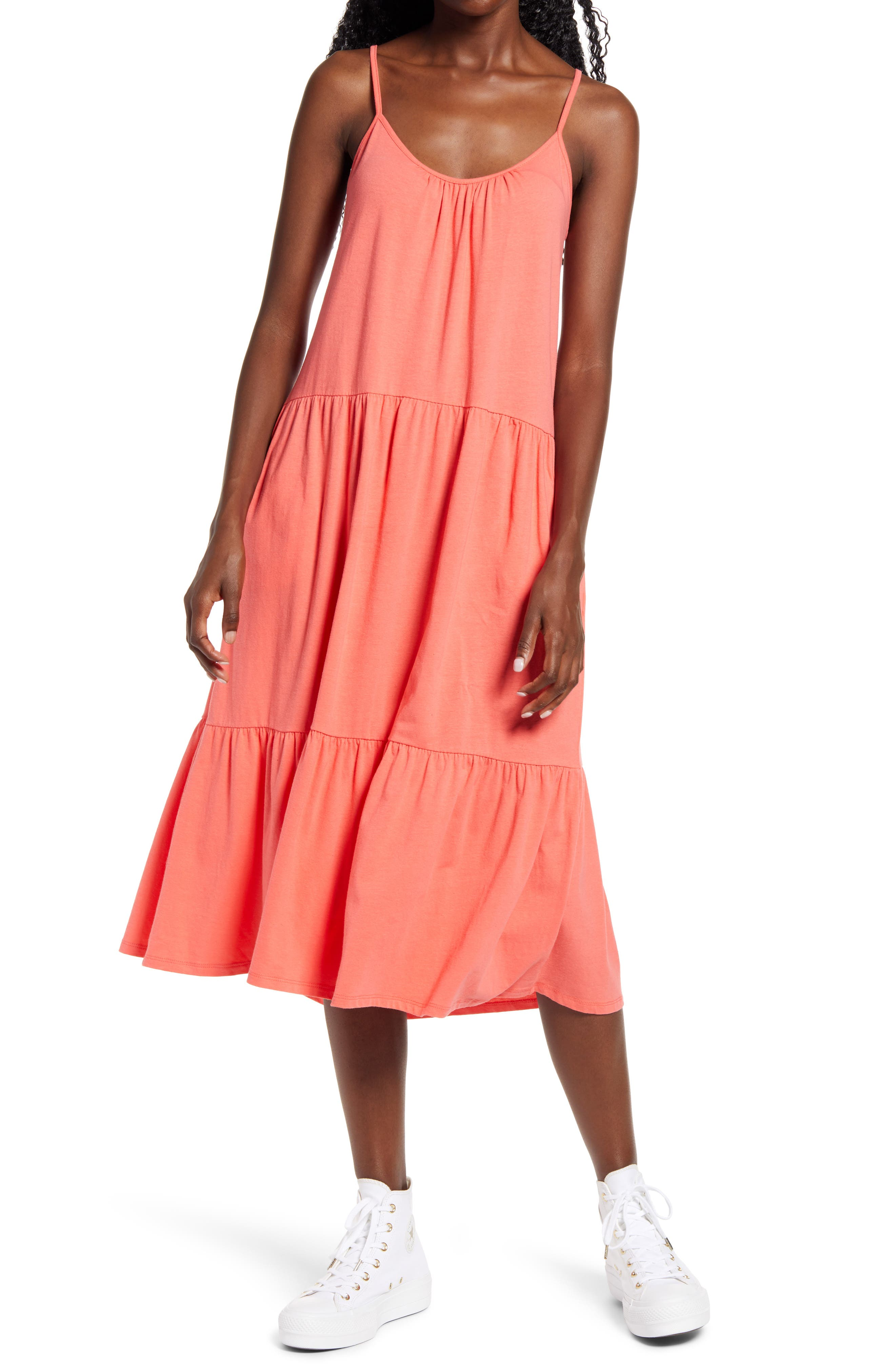A gathered neckline and tiers give lovely flow to this soft cotton jersey dress that shifts from day to night with a simple switch of accessories. The adjustable straps ensure a perfect fit. Style Name: All In Favor Tiered Jersey Dress. Style Number: 6086248 1. Available in stores.