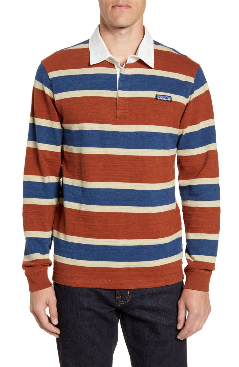 PATAGONIA Rugby Stripe Polo Shirt, Main, color, RUGBY SISU BROWN
