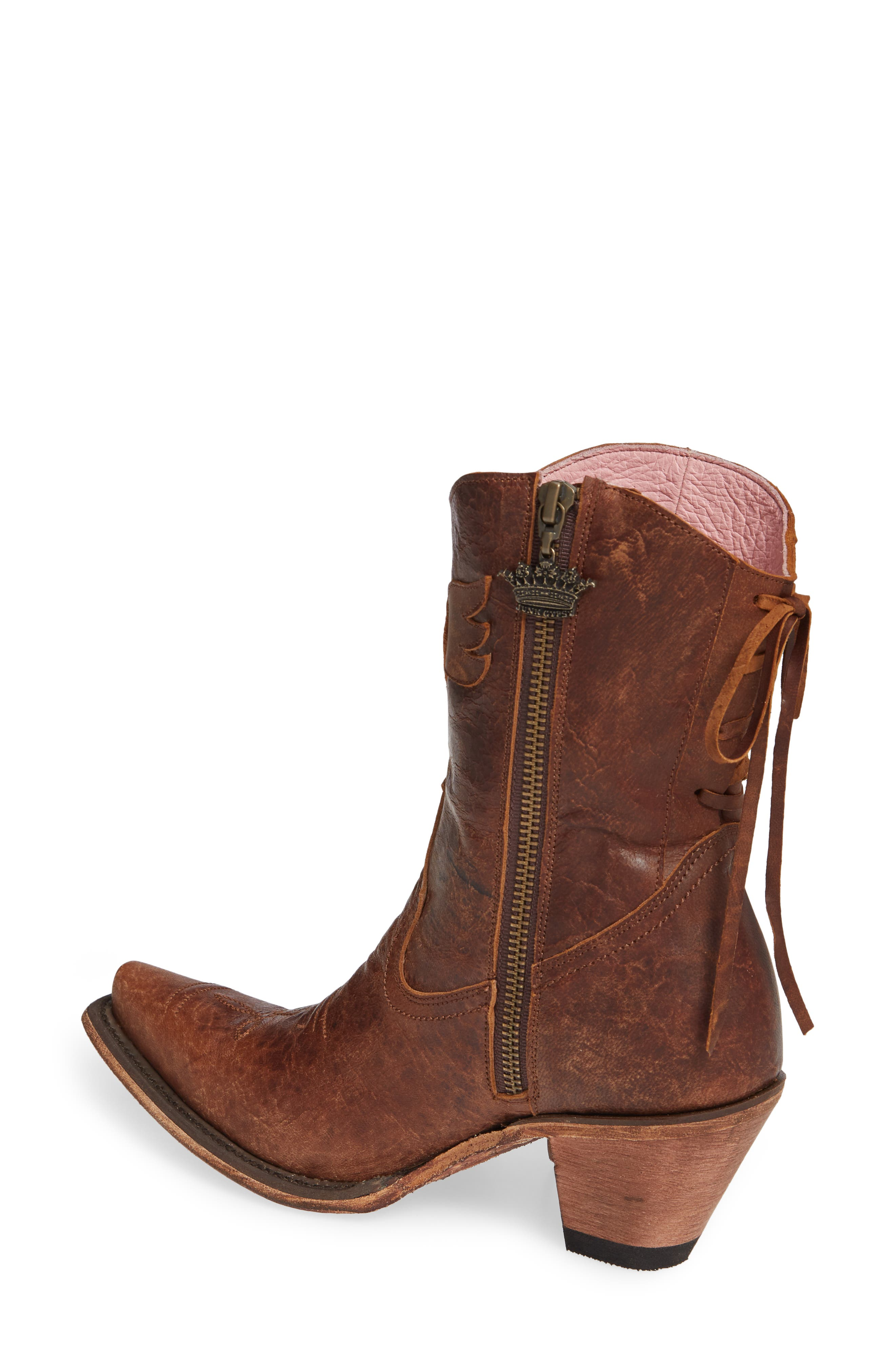 ,                             x Junk Gypsy Fringe Western Bootie,                             Alternate thumbnail 2, color,                             BROWN LEATHER