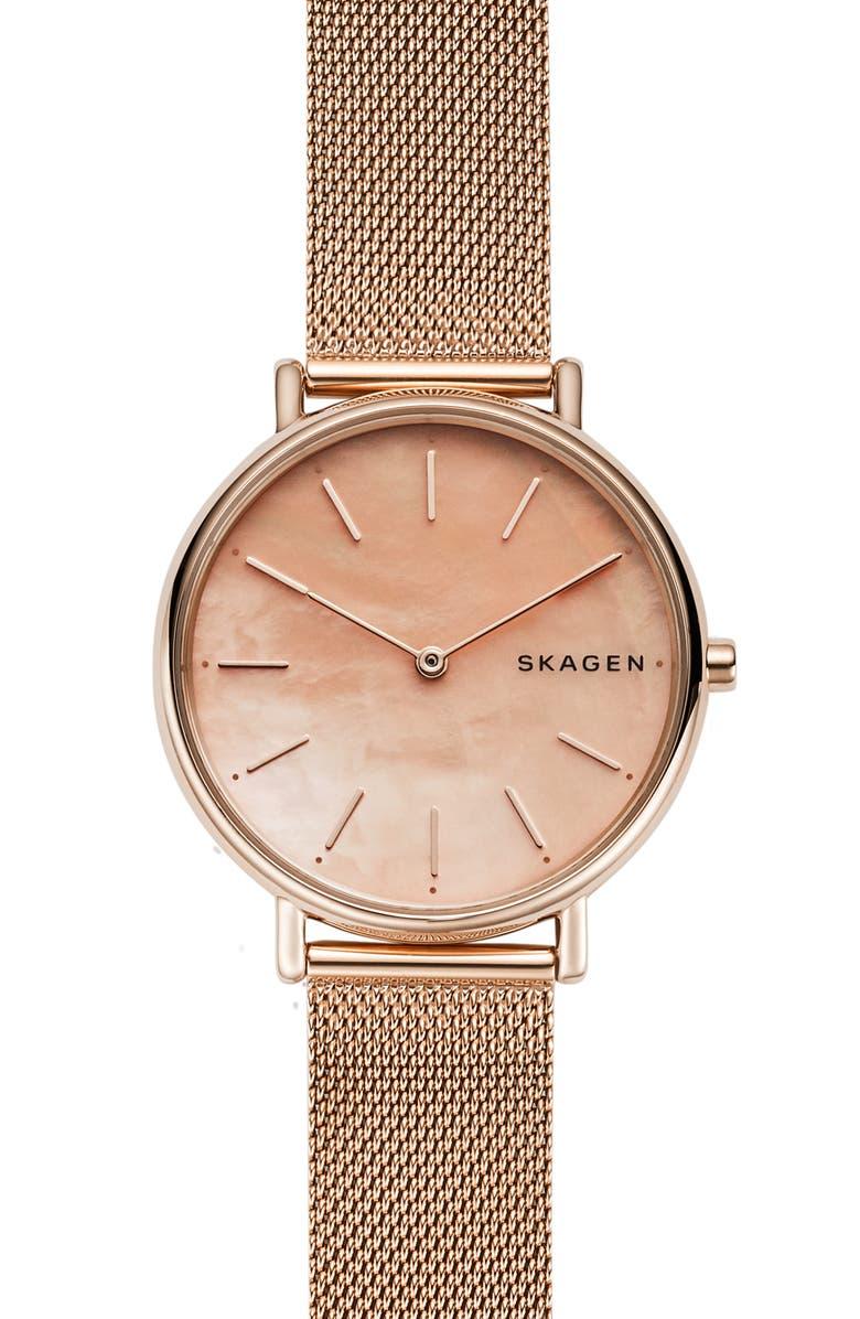 SKAGEN Signatur Mesh Strap Watch, 36mm, Main, color, ROSE GOLD/ PINK MOP/ ROSE GOLD