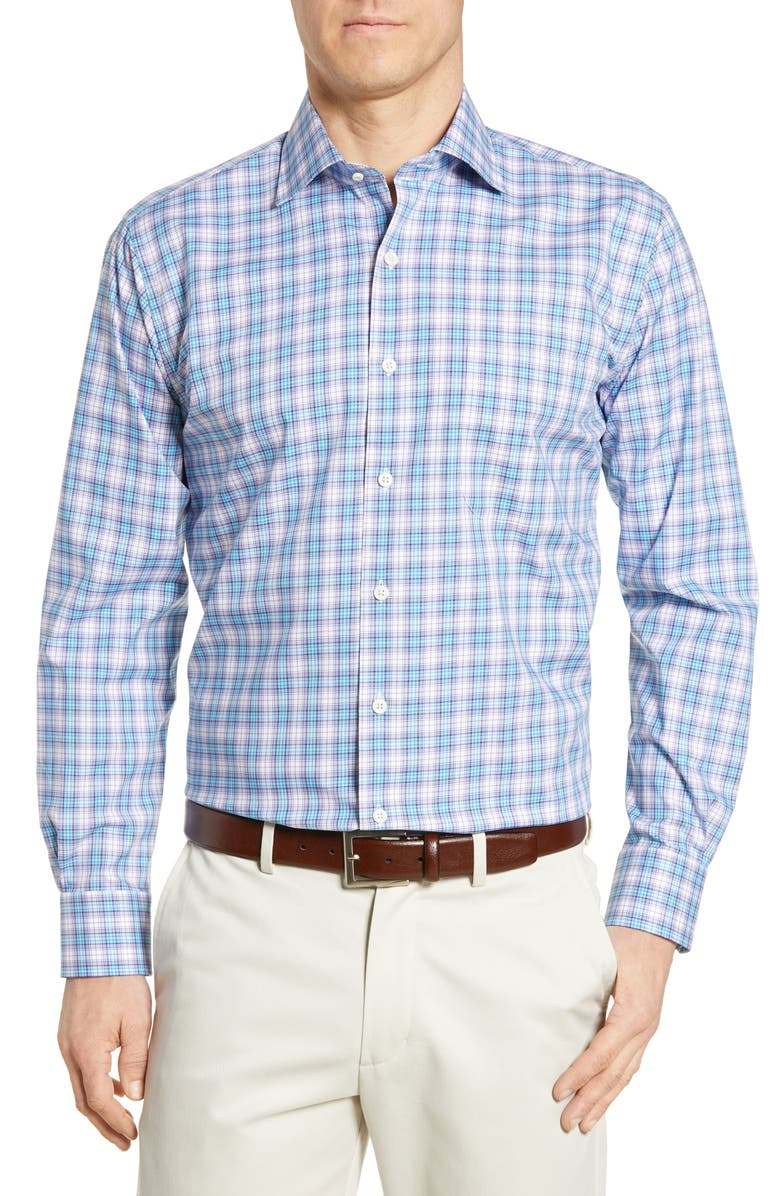PETER MILLAR Badon Regular Fit Tartan Plaid Shirt, Main, color, 409