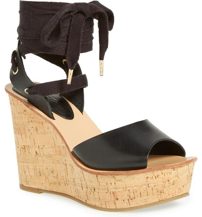 TOPSHOP 'Wise' Platform Wedge Sandal, Main, color, 001