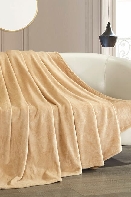 Image of Chic Home Bedding Kaeden Fleece Throw - Camel