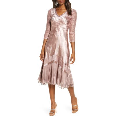 Komarov Charmuse & Chiffon A-Line Dress, Brown