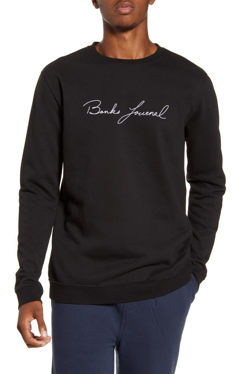 BANKS JOURNAL Chance Logo Embroidered Crewneck Sweatshirt, Main, color, DBL- DIRTY BLACK