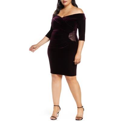 Plus Size Alex Evenings Off The Shoulder Velvet Cocktail Dress, Purple