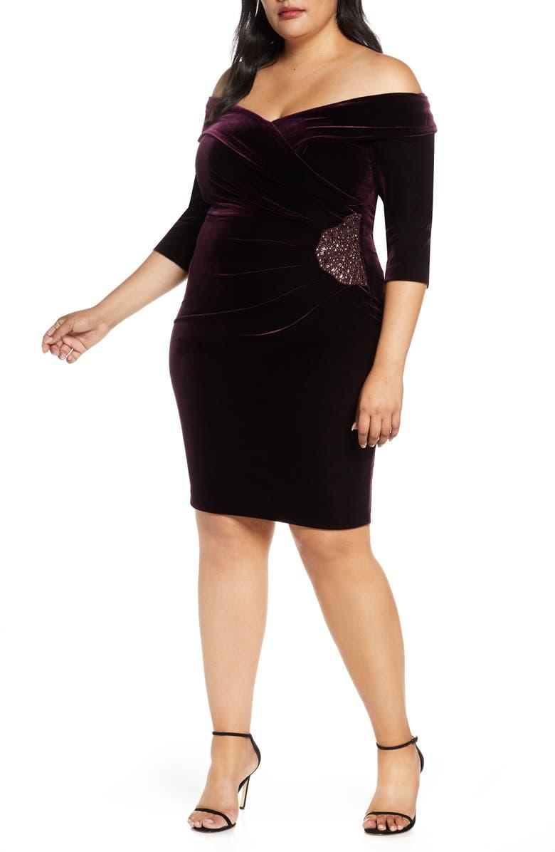 ALEX EVENINGS Off the Shoulder Velvet Cocktail Dress, Main, color, 504
