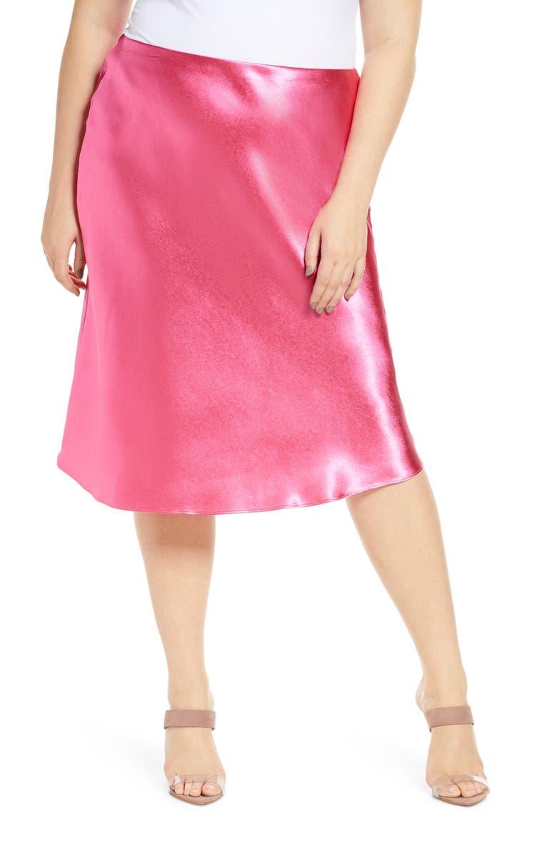 LEITH Bias Cut Satin Skirt, Main, color, PINK MAGENTA