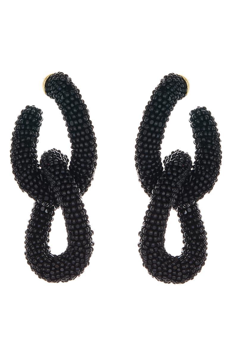 OSCAR DE LA RENTA Beading Links Drop Earrings, Main, color, BLACK
