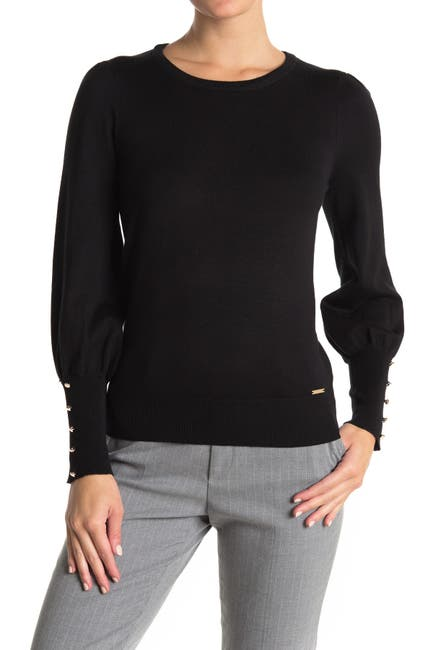 Image of T Tahari Button Cuff Bishop Sleeve Pullover