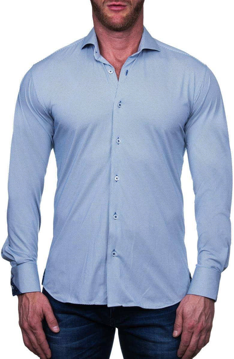 MACEOO Einstein Diamond Regular Fit Button-Up Shirt, Main, color, BLUE