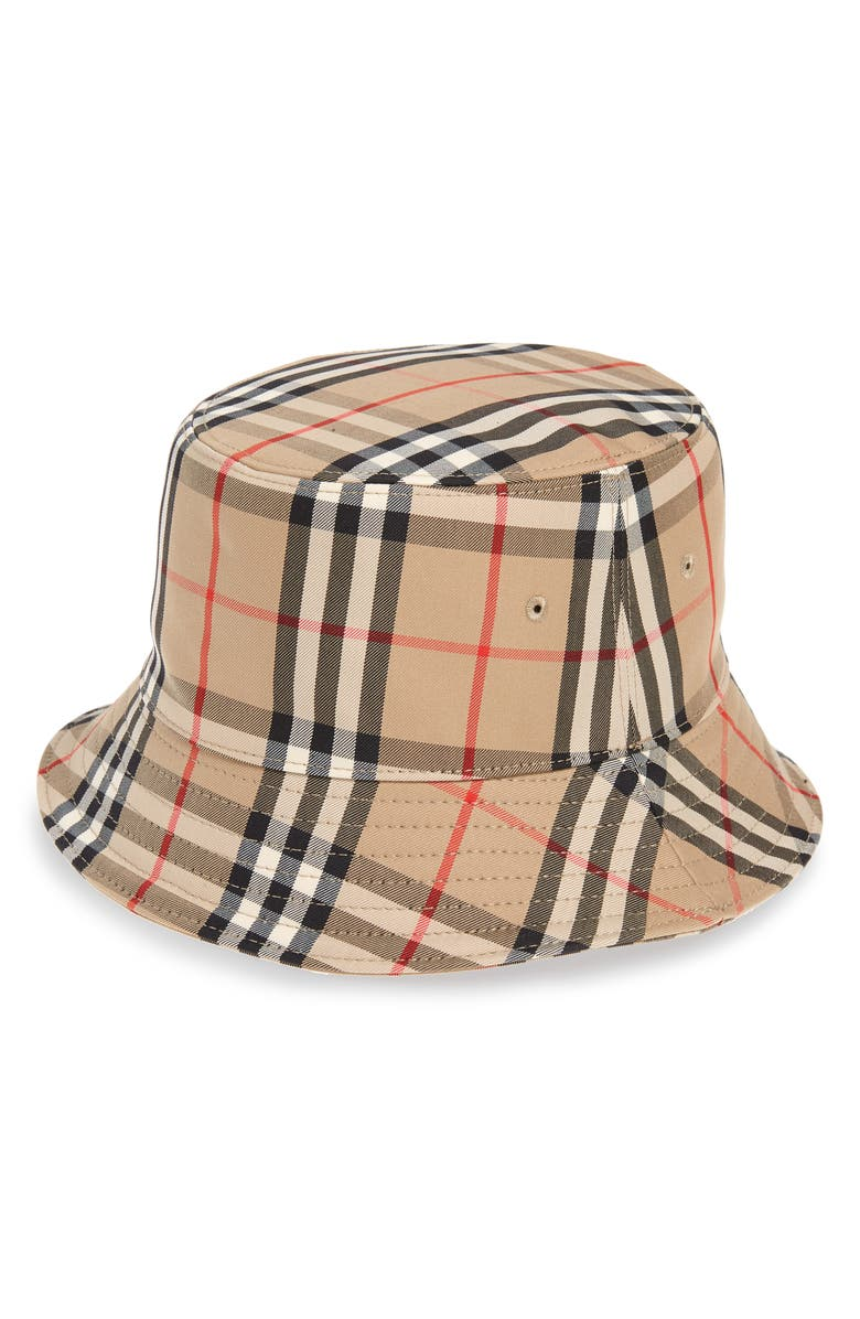 BURBERRY Heavy Check Bucket Hat, Main, color, ARCHIVE BEIGE