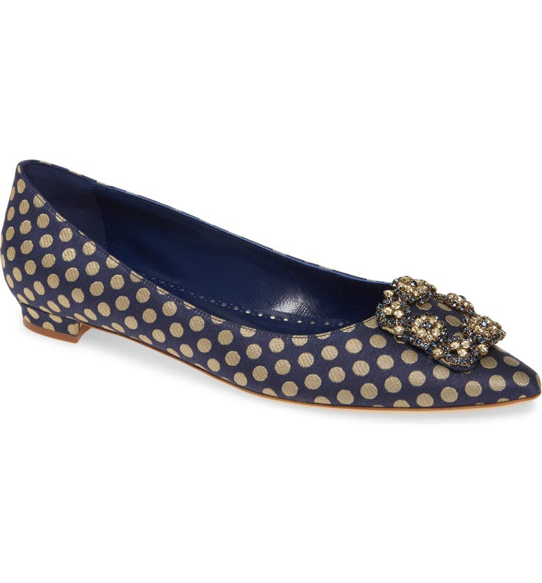 MANOLO BLAHNIK Hangisi Floral Pointy Toe Flat, Main, color, NAVY/ GOLD
