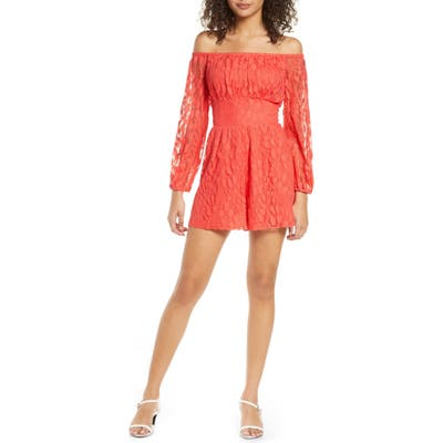 Ali & Jay Bellini Off The Shoulder Romper, Coral